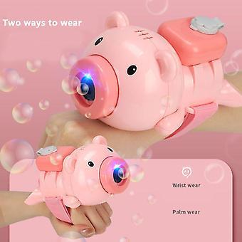 Schweinchen Automatische Seife Blasen Pistole Gebläse Maschine Leichte Musik Lustige Outdoor Mädchen Spielzeug