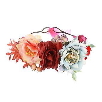Women bohemia floral hairband rose flowers wreath wedding party bridal garland hair accessories