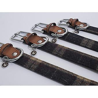 Pet leashes luxury leather collar tweed check 3/4'' x16-20''