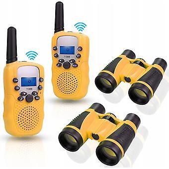 2 stuks kinderveld interactieve speelkijker + 2 stuks walkietalkies (geel)