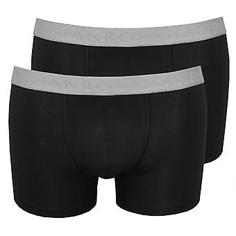 Hanro 2-Pack Cotton Essentials Boxer Trunks, Black
