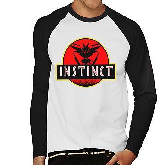 Team Instinct Jurassic Park Pokemon gaan mannen honkbal lange mouwen T-Shirt