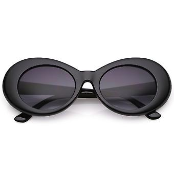 Retro Oval Sunglasses With Tapered Arms Neutral Colored Gradient Lens 50mm