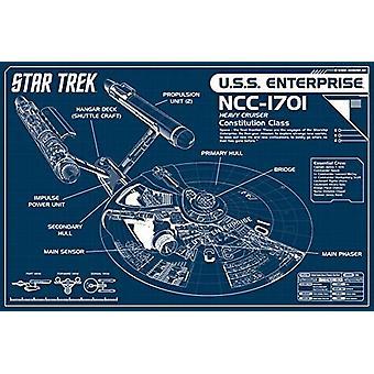 Звездный план предприятия Blueprint Плакат Плакат Печать