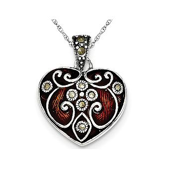 Red Enamel & Marcasite Heart Pendant Necklace in Sterling Silver