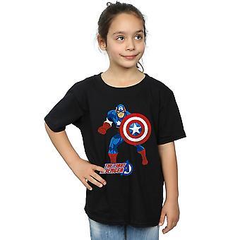 آعجوبة الفتيات كابتن أمريكا تي شيرت المنتقم الأولى