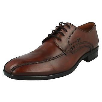 Mens Maverick schoenen A2079 zwart of medio slimme bruinleren Lace Ups
