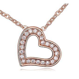 Naisten Rose kultaa Love sydän riipus kaulakoru kristalli kivet