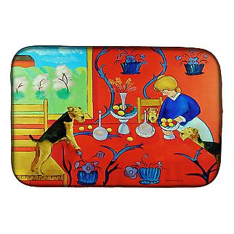 Airedale Terrier with lady in the kitchen Dish Drying Mat