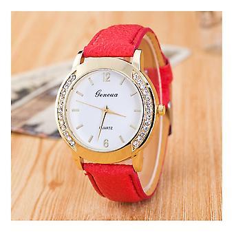 Reloj rojo oro Geneva relojes de moda de chicas