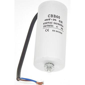 Universal 45UF kondensator med 21cm kabel anslutningar