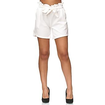 Ladie's Shorts Chiffon Summer Beach Bows Crepé Pants with Belt Stretch Cropped