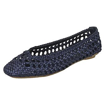 Ladies Spot på Flat flettet Ballerina sko
