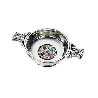 Standard Pewter Quaich with Gem Cross