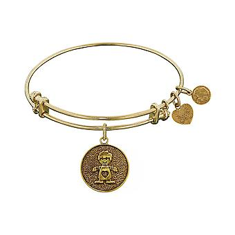 Stipple Finish Brass Boy Angelica  Bangle Bracelet, 7.25""