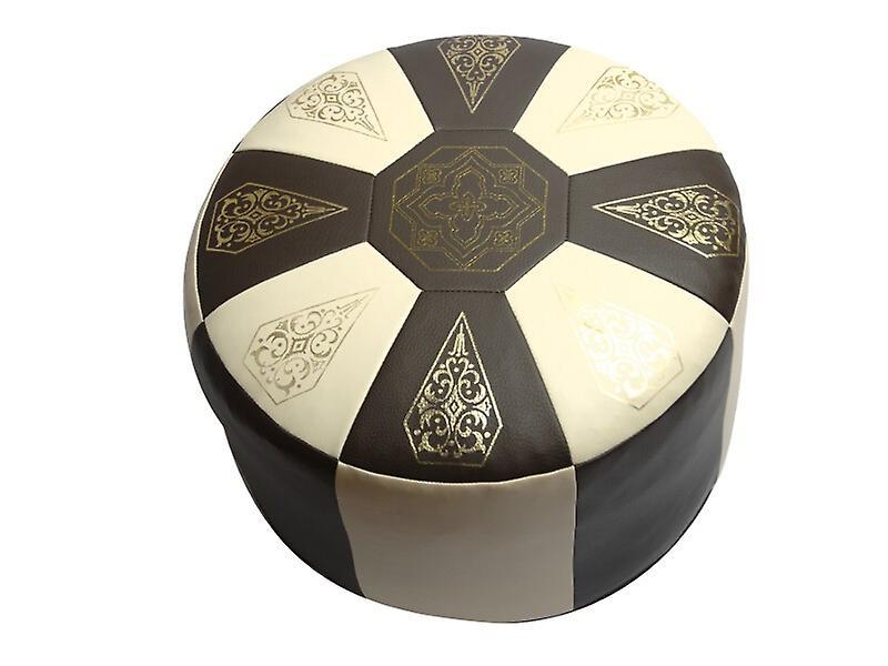 Sitzkissen Orientkissen rund Kunstleder dunkelbraun/beige, Breite 50 cm, H 34 cm