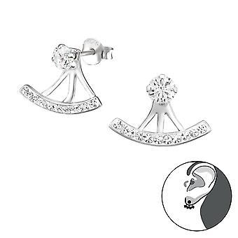 Curva - 925 chaquetas oreja de plata y pendientes de doble - W31135X