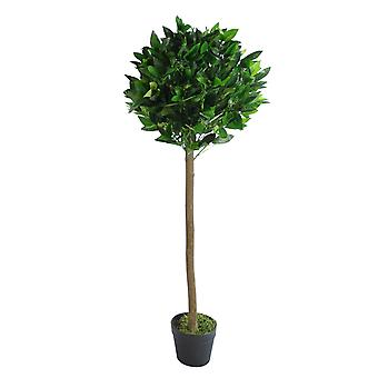 120cm (4ft) Plain Natural Trunk Artificial Topiary Bay Laurel Ball Tree