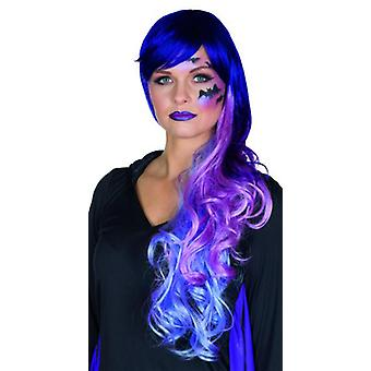 Cecilia long hair wig with bangs and side parting gradient purple to pink witch Carnival