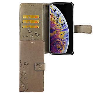 Apple iPhone XS Max Handy-Hülle Schutz-Tasche Cover Flip-Case Kartenfach Grau