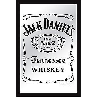 Jack Daniel's XL Spiegel New Jack Bedruckter Spiegel mit schwarzem Kunststoffrahmen in Holzoptik.