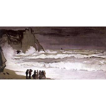 Rough Sea at Etretat, Claude Monet, 80x40cm