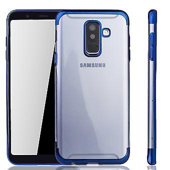 Caja del teléfono celular para Samsung galaxia A6 plus azul - claro - TPU Funda de silicona nuevo tapa cubierta protectora transparente / brillante borde azul