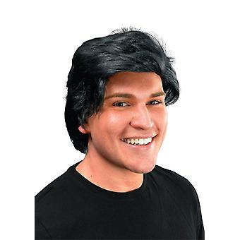 Mans Wig Side Parting. Black.