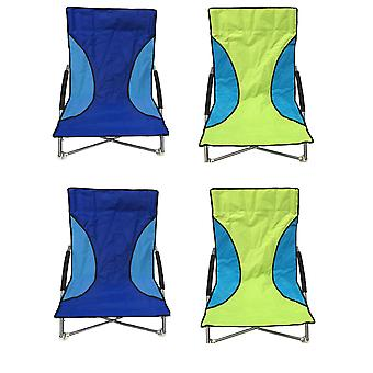 4 Nalu Folding Low Seat Beach Chair Camping Chairs - 2 Green & 2 Blue