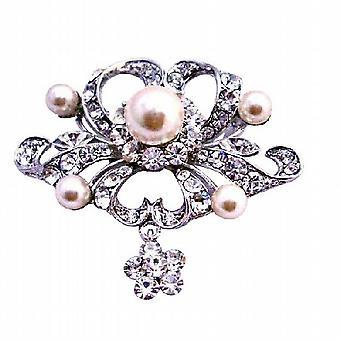 Fully Encrusted Rhinestones Pearls Cubic Zircon Flower Silver Brooch