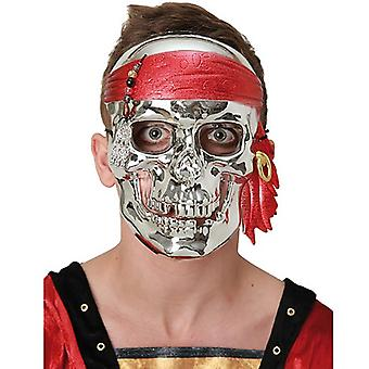 Pirate skull mask Silver metallic skull pirate mask