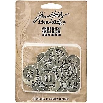 Idea-Ology Metal Number Tokens 31/Pkg-Antique Silver .75
