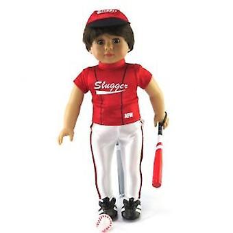 """18"""" Puppe Kleidung, rote Baseball-Schläger-Outfit mit Zubehör"""