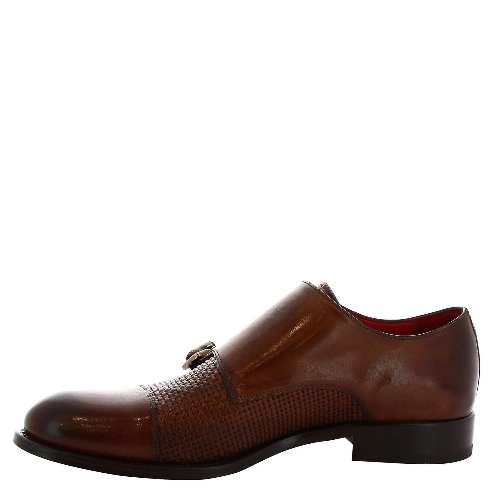 Leonardo Shoes 8619e19tomvitellodelavebrandy Men's Brown Leather Monk Strap Shoes 2OgK1E