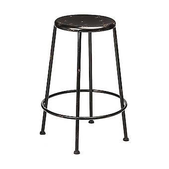 Fusion Living Black Metal Distressed Artisan Bar Stool