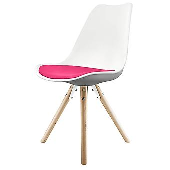 Fusion Living Eiffel Inspired White And Bright Pink Dining Chair With Pyramid Light Wood Legs