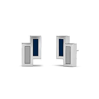Xavier University Sterling Silver Asymmetrisk emalj Stud örhängen i blått och grått