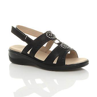 Ajvani panie lekki niski obcas t-bar dotknąć blisko slingback pasek diamante komfort sandały buty