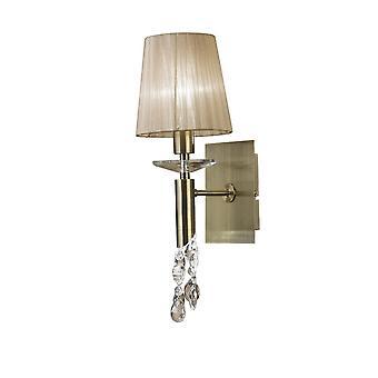 Mantra Tiffany vägglampa bytte 1 + 1 Light E14 + G9, antik mässing med mjuk brons nyans & klar kristall