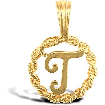Jewelco London Solid 9ct Yellow Gold Rope Identity Initial Charm Pendant Letter T