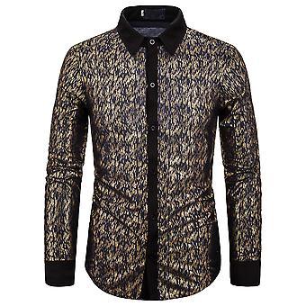 Alle Themen Men's Shirt Vergoldung Print Revers Casual Langarm Shirt