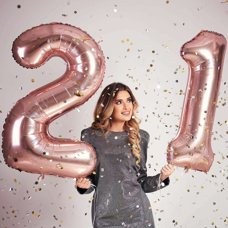 TRIXES عدد 21 إحباط بالون لأعياد الميلاد الذكري السنوية 40 بوصه ارتفع الذهب