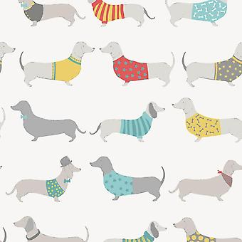 Catherine Lansfield Silly Sausage Dog Multi Easy Care Duvet Set Cushion