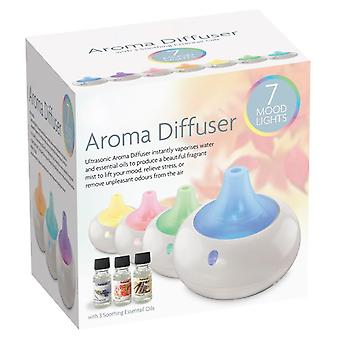 Ultrasonic Aroma Diffuser Humidifier Essential Oils With 7 Colour LED Mood Light