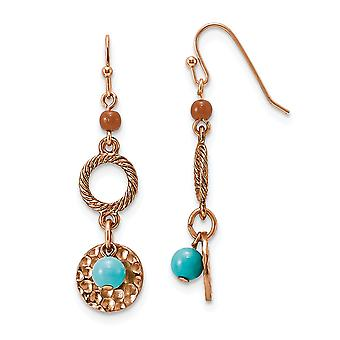 Shepherd hook Copper tone Aqua and Brown Beads Fancy Long Drop Dangle Earrings Jewelry Gifts for Women