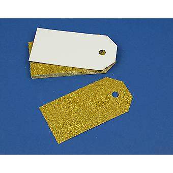 15 Gold Luxury Glitter 10cm Tags for Crafts & Gift Wrapping
