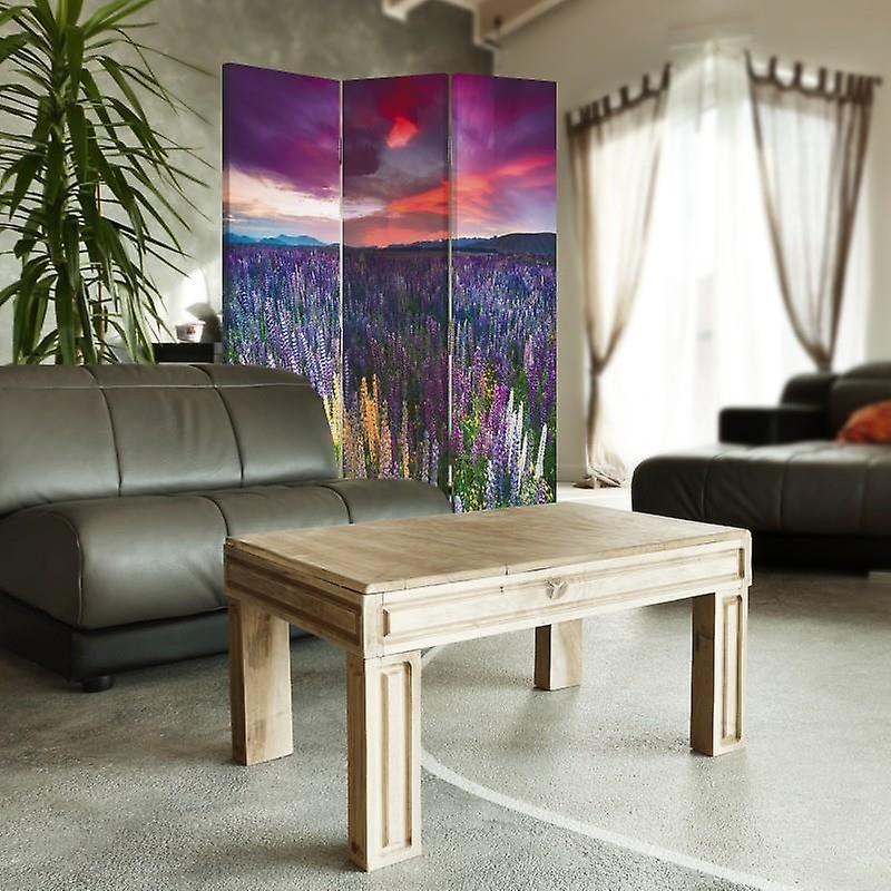 Diviseur de pièce, 3 panneaux, double-côté, toile, pré plein de fleurs