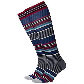 Burlington stripe knä höga strumpor-svart/röd/blå