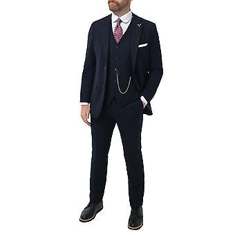 Loch Hart mężczyźni Navy 3 Piece Suit Bold kreda Stripe