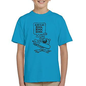 Grimmy Beach All Day Kid's T-Shirt